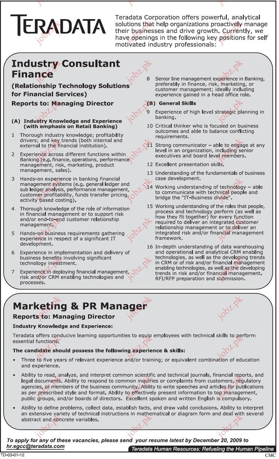 teradata corporation pakistan opportunities 2017