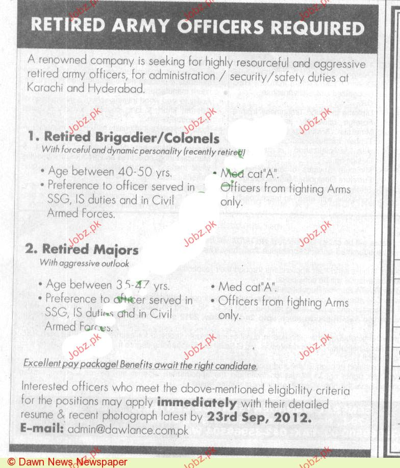 Retired Brigadier / Colonels and Retired Majors Required