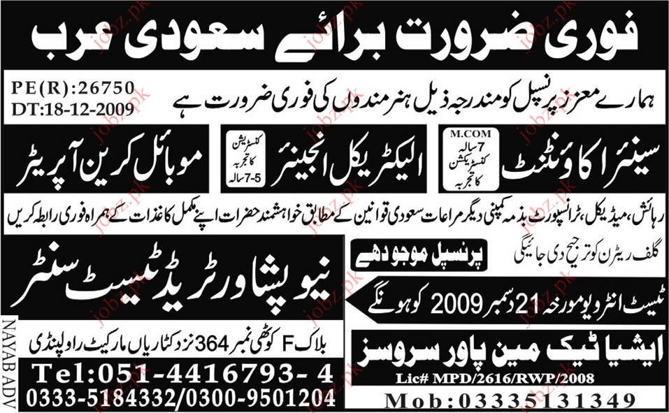Electrical Engineer, Civil Engineer staff required