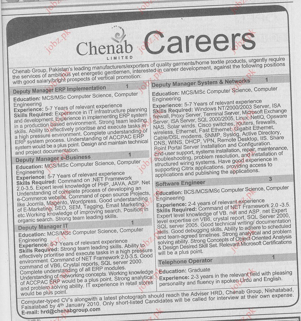 Chenab Group Limited Job Opportunities