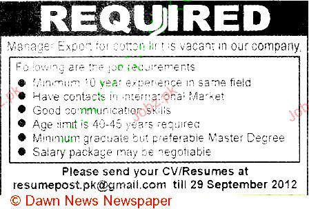 Manager Export Job Opportunity