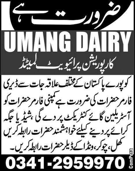 Dairy Farmers Job Opportunity