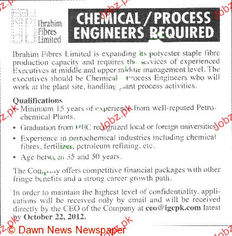 Chemical  Process Engineers Job Opportunity  Jobs Pakistan