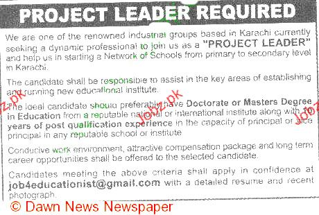 Project Leader Job Opportunity