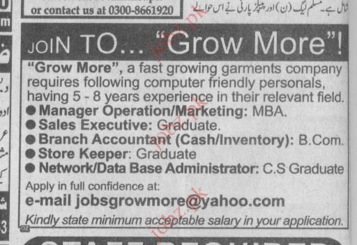 Grow More Company Job Opportunities