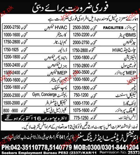 Supervisors, BMS Operators, Chiller Technicians Required