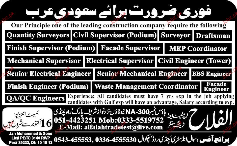 Quantity Surveyors, Senior Electrical Engineer Required