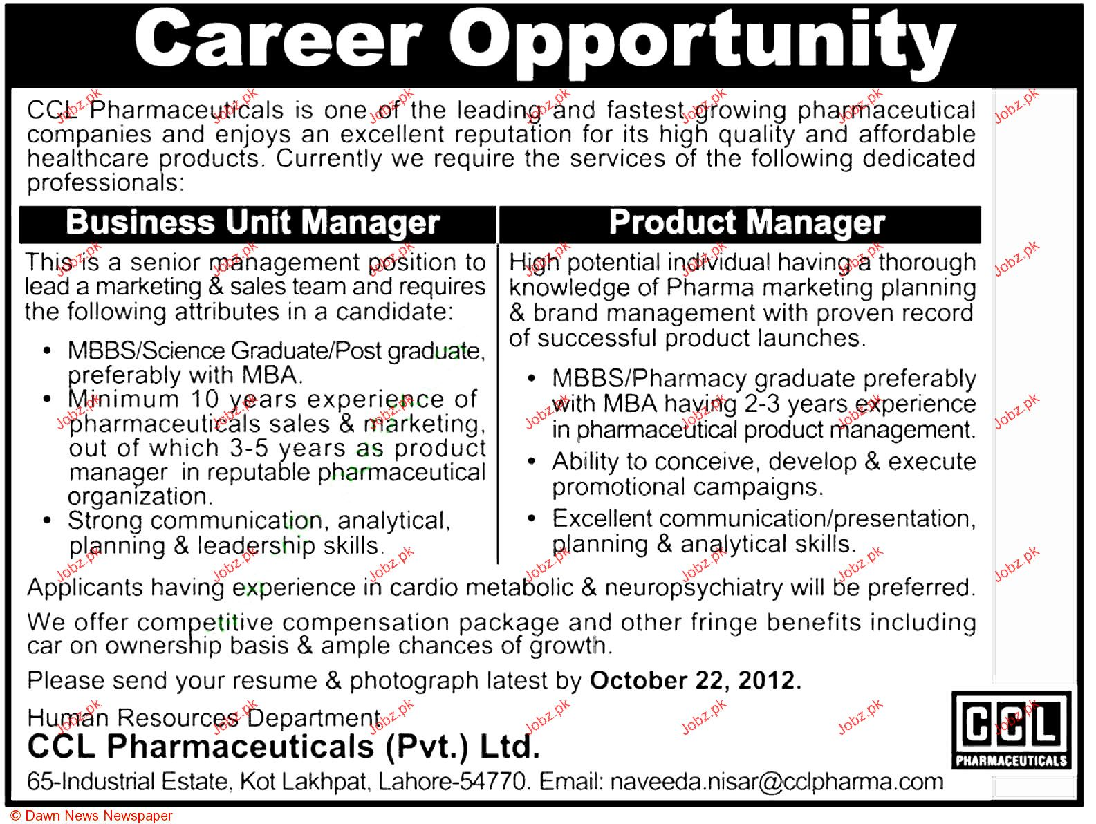 Business Unit Manager And Product Manager Job Opportunity