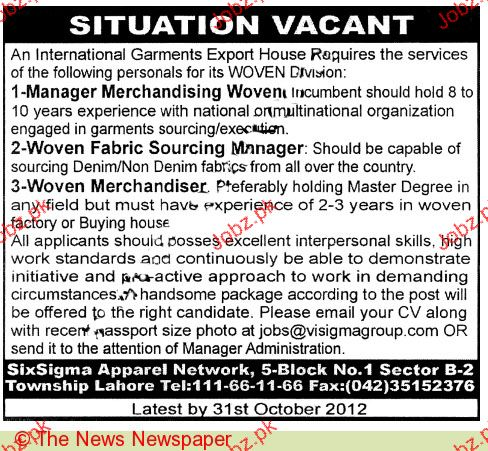 Manager Merchandising Woven Job Opportunity