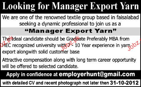 Manager Export Yarn Job Opportunity