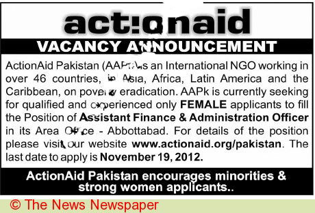 Female Assistant Finance and Administration Officers Wanted