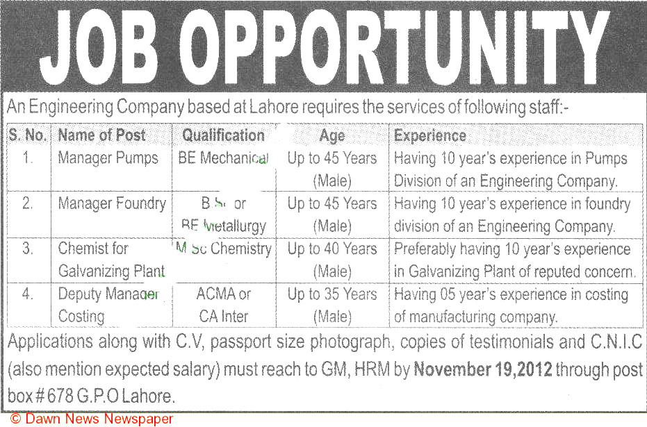 Manager Pumps, Manager Foundary Job Opportunity