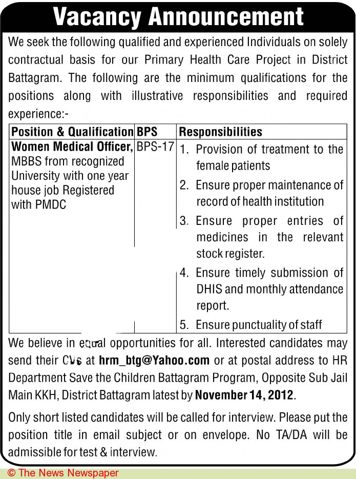 Women Medical Officers Job Opportunity