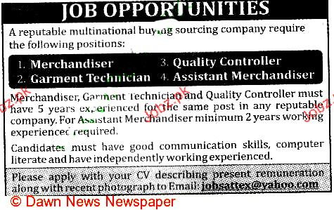 Merchandiser, Quality Controller, Garment Technicians Wanted 2017