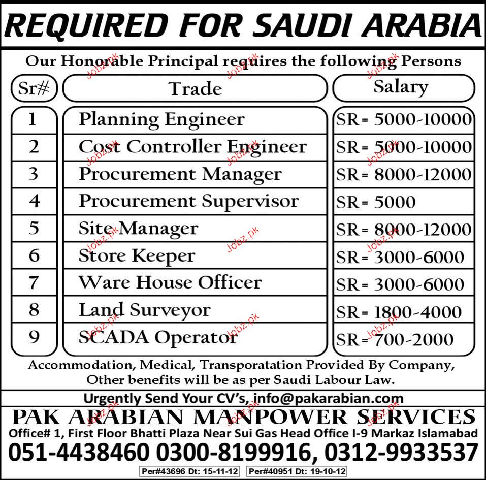 Planning Engineers, Procurement Manager Job Opportunity