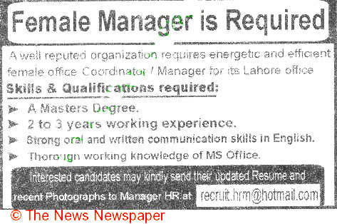 Female Manager Job Opportunity