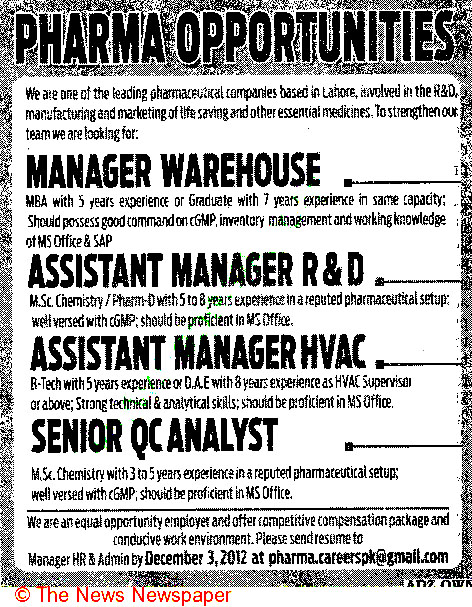 Assistant Manager R & D, Manager Warehouse Required