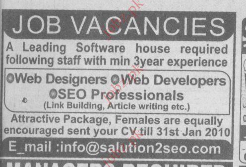 Job Opportunities for Web Developers & Designers