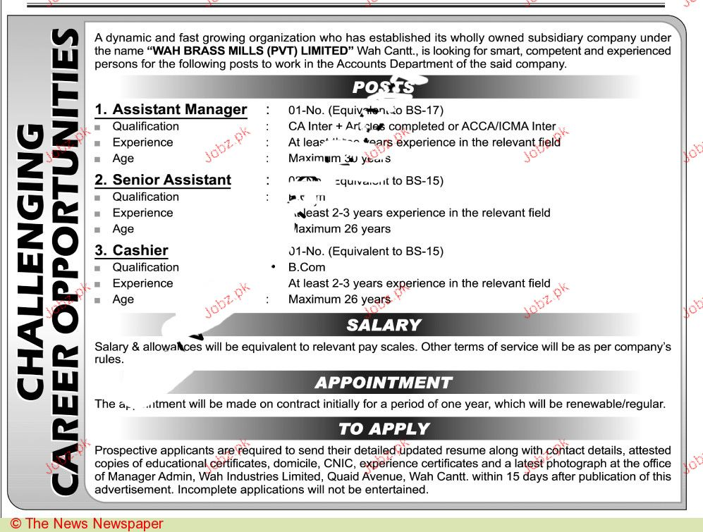Assistant Managers, Senior Assistant Job Opportunity