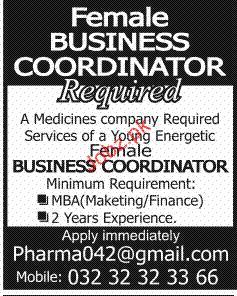 Female Business Coordinators Job Opportunity