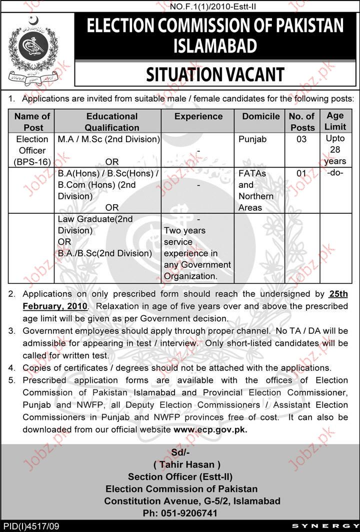 Election Commission of Pakistan Job Opportunities