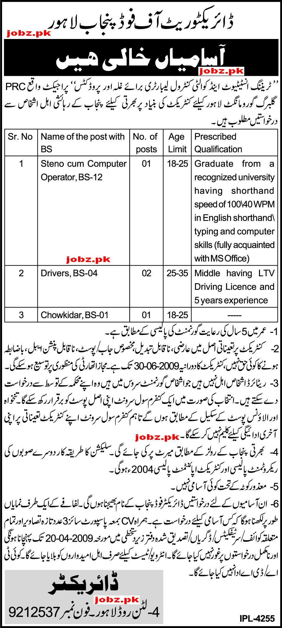 Directorate of food Punjab Jobs