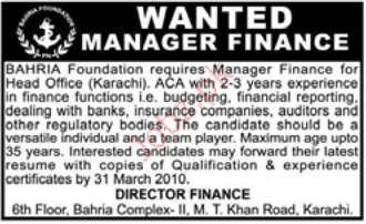 Bahria Foundation Job Opportunities