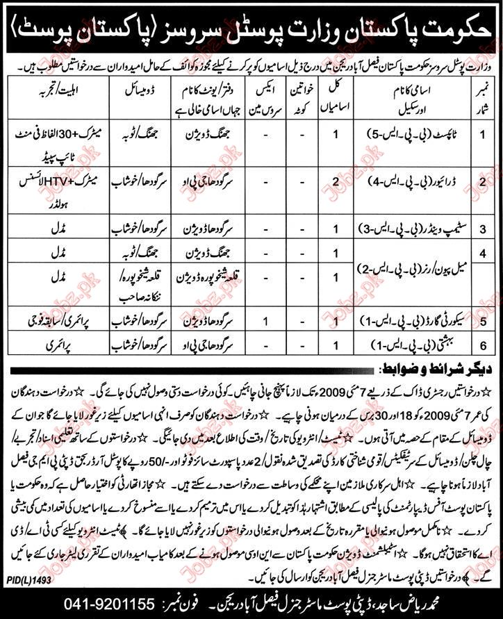 Pakistan Post Office staff Required