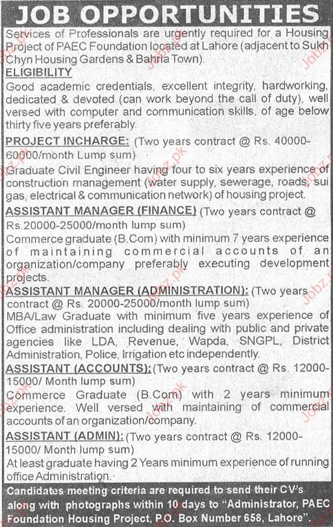 Office Staff job in Housing Project of PAEC Foundation