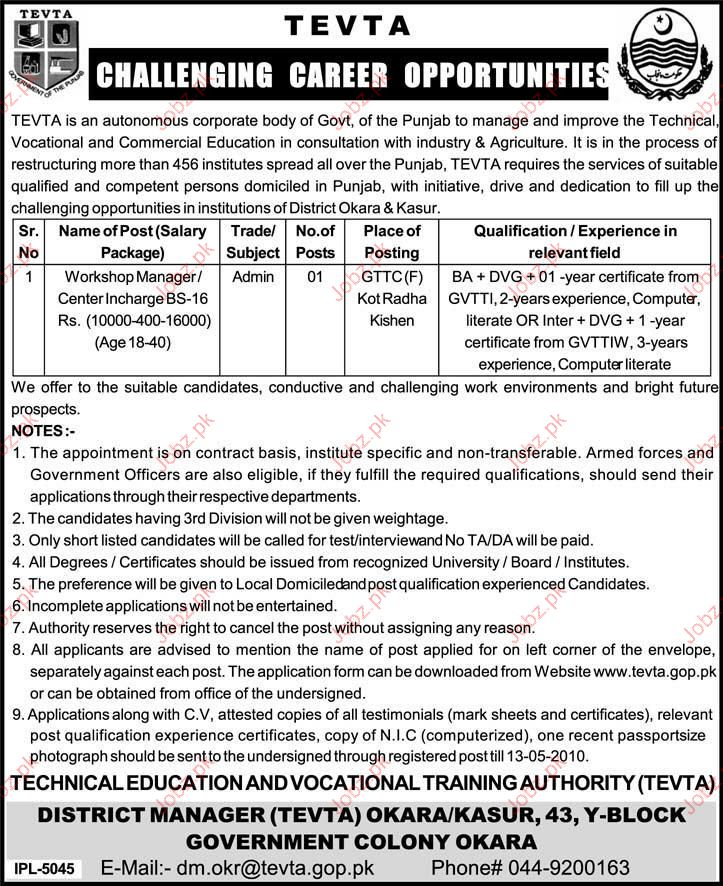 job opportunity for Technical Staff in TEVTA