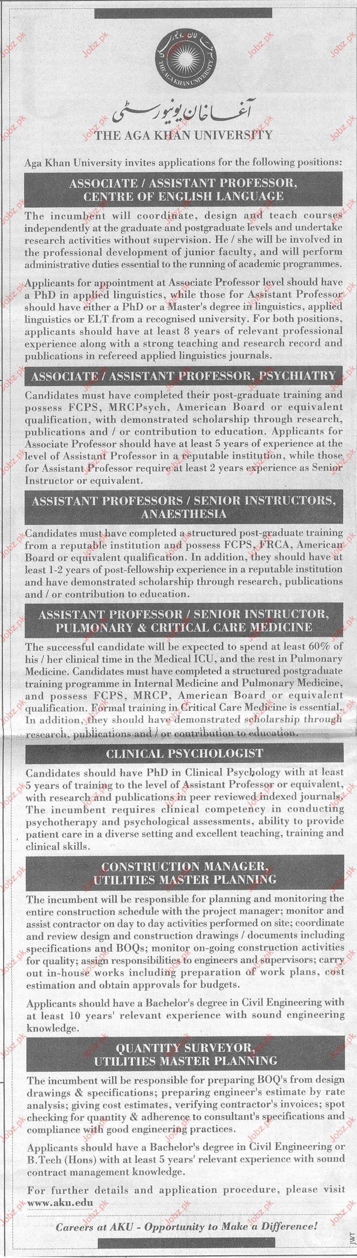 Faculity Required in The Agha Khan University