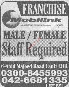 Male / Female Staff Required in Moblink Franchise 2019 Job