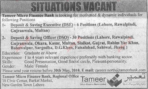 Banking Staff Required in Tameer Micro Finance Bank