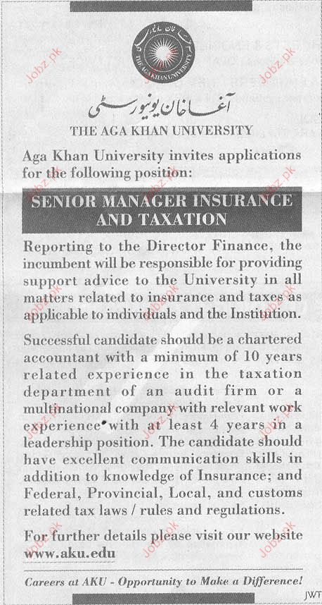 Senior Manager Insurance and Taxation Required