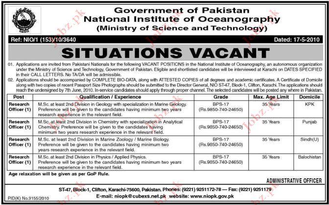 National Institute of Oceanography Job Opportunities