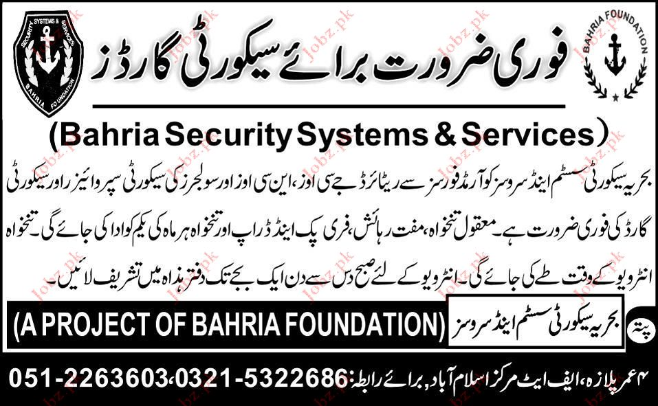 Bahria Security Systems & Services  Job Opportunities