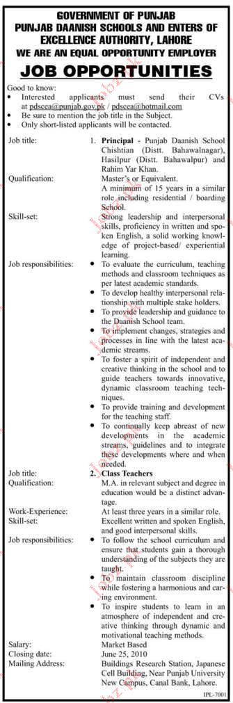 Job Opportunities in Education Department Lahore