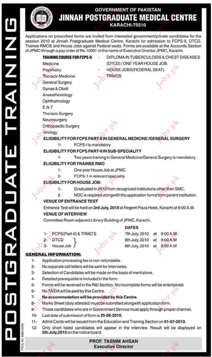 Jinnah Postgraduate Medical Center Karachi Job Opportunities