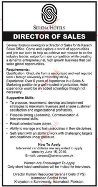 Serena Hotels Pakistan Job Opportunities