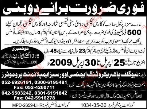 Staff Required For Dubai