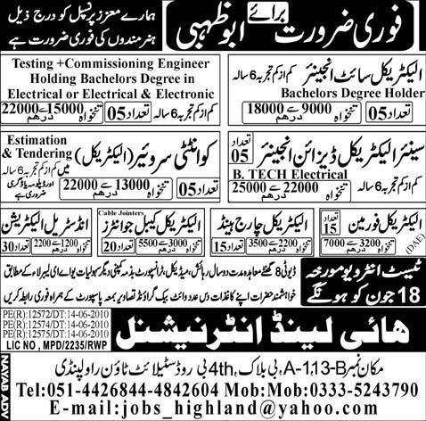 Electrical Site Engineer, Electrical Foreman Vacancy