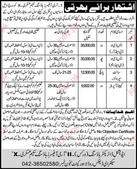 Army Officer Housing Scheme ASKARI job Opportunity 2019 Job