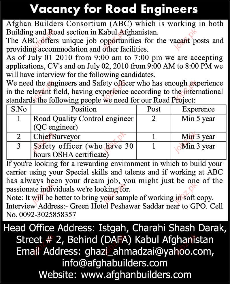 Afgan Builders Consortium Job Vacancy