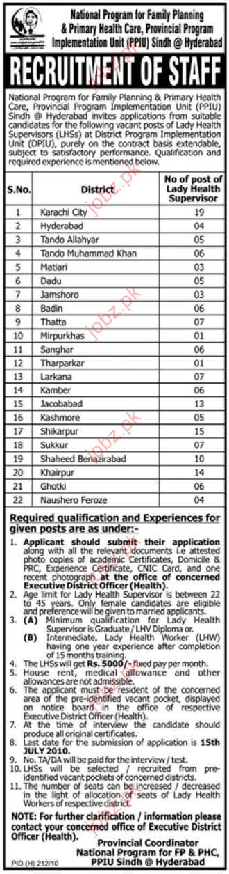 Job Opportunities in National Programme for FP & PHC