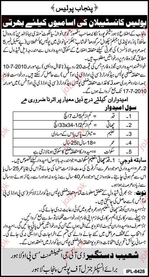 punjab police job opportunity 2019 job advertisement pakistan