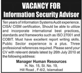 Job Opportunities for Information Security Advisor