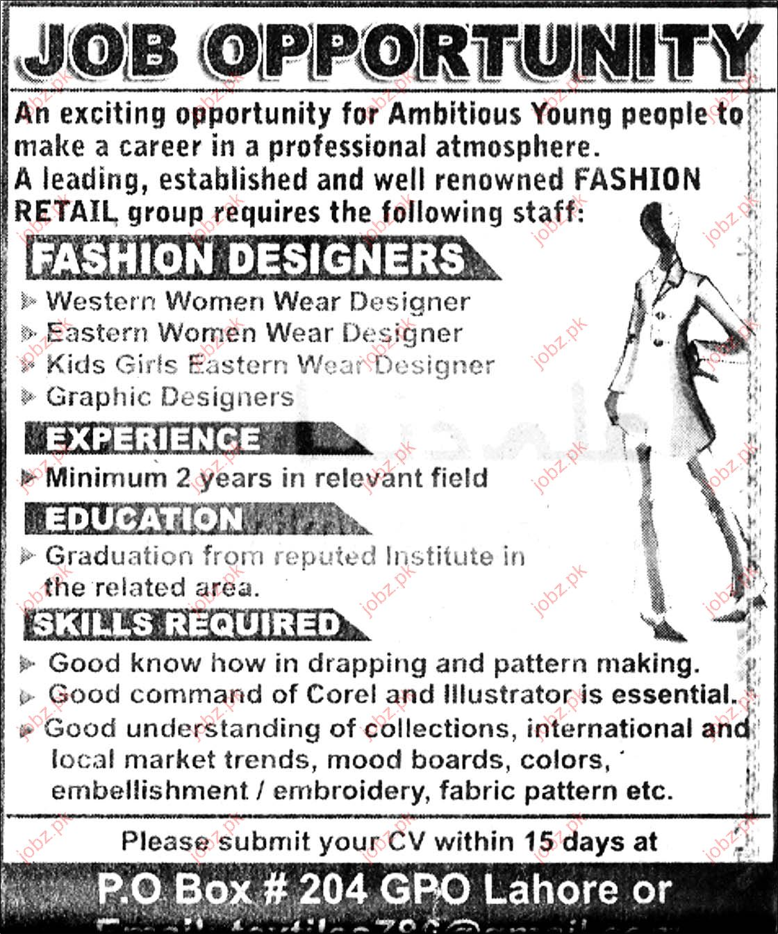fashion designer required 2019 job advertisement pakistan