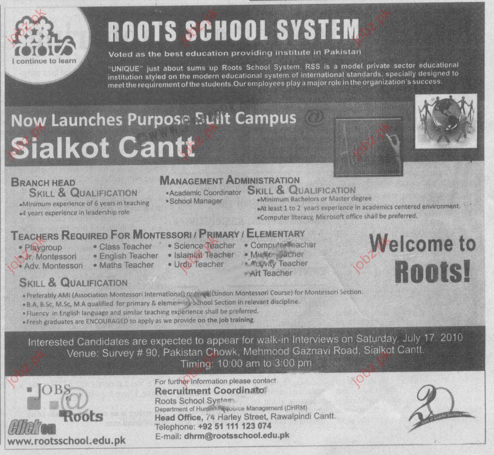 Job Opportunities In Roots School System 2019 Job