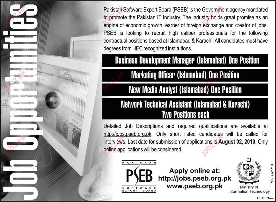 Pakistan Software Export Board (PSEB) job Opportunity