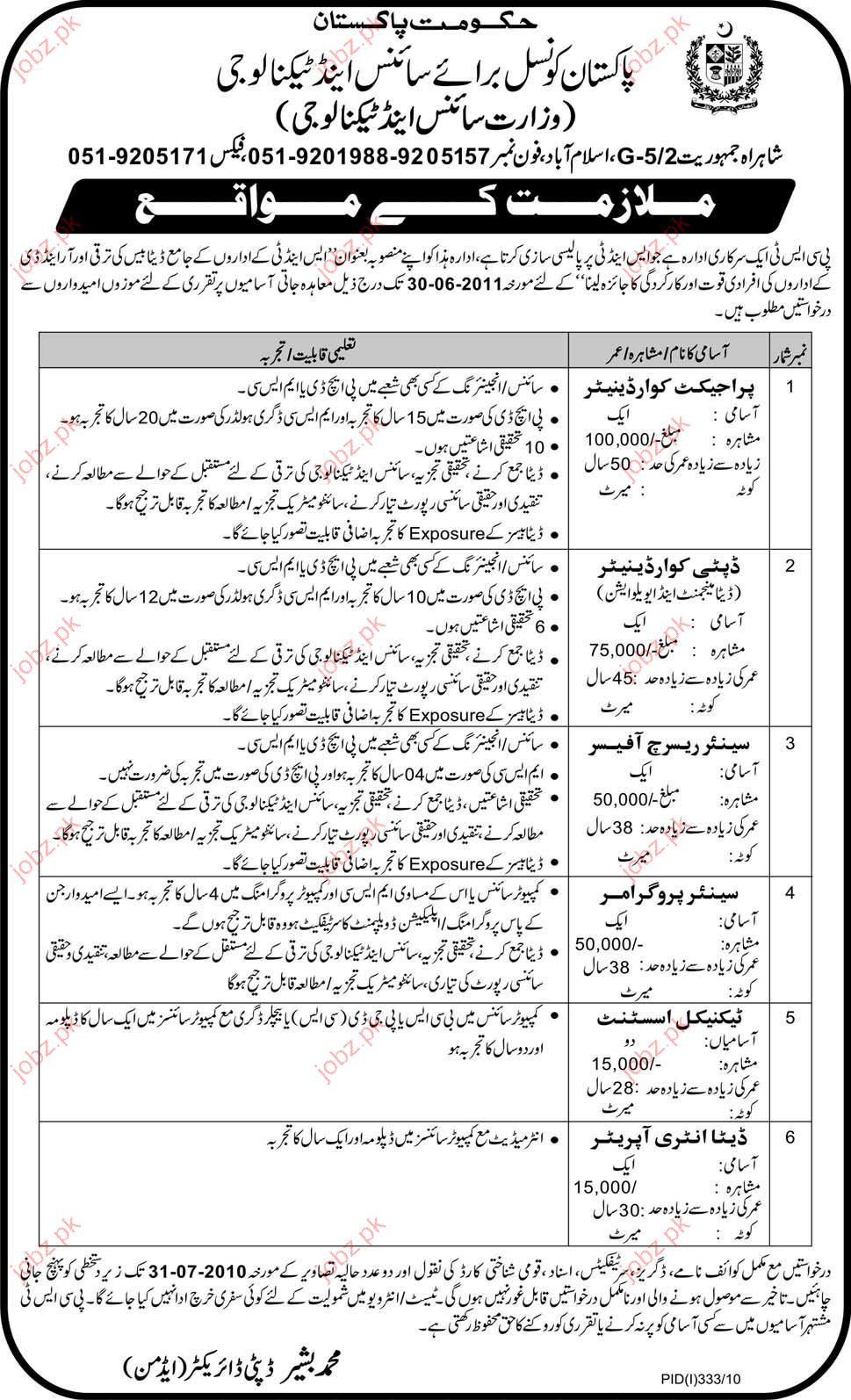Pakistan Council For Science Amp Technology Job Opportunity